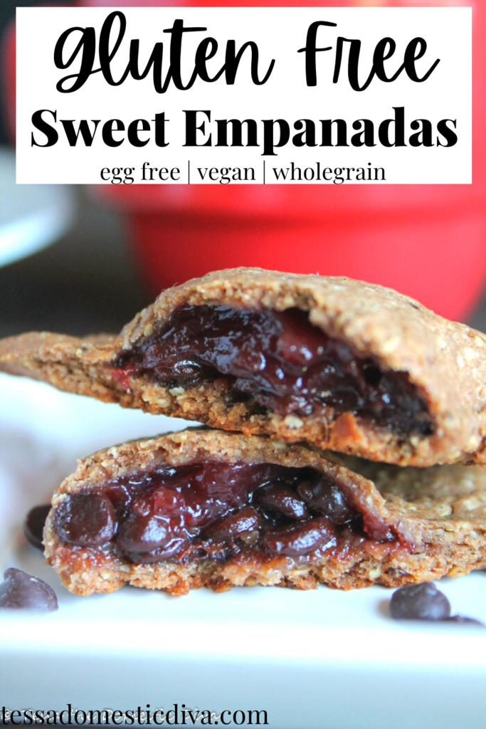 pinterest ready white plate close up of halved sweet empanada with jelly and chocolate