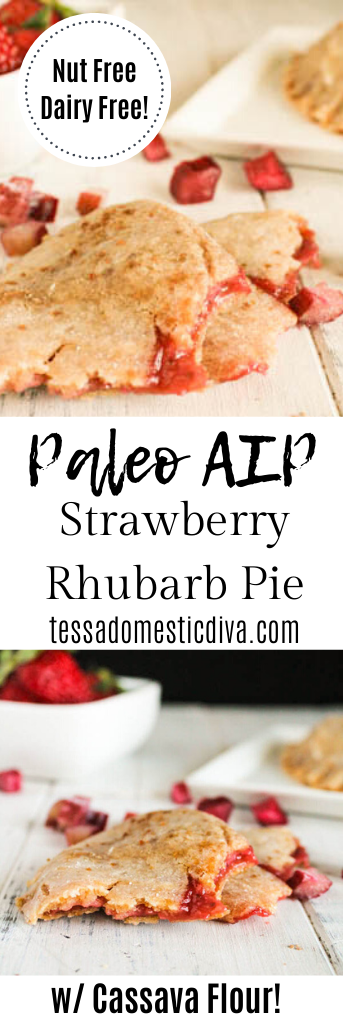 pinterest ready two image layout of small hand pies with a bright red strawberry filling on white wooden surface