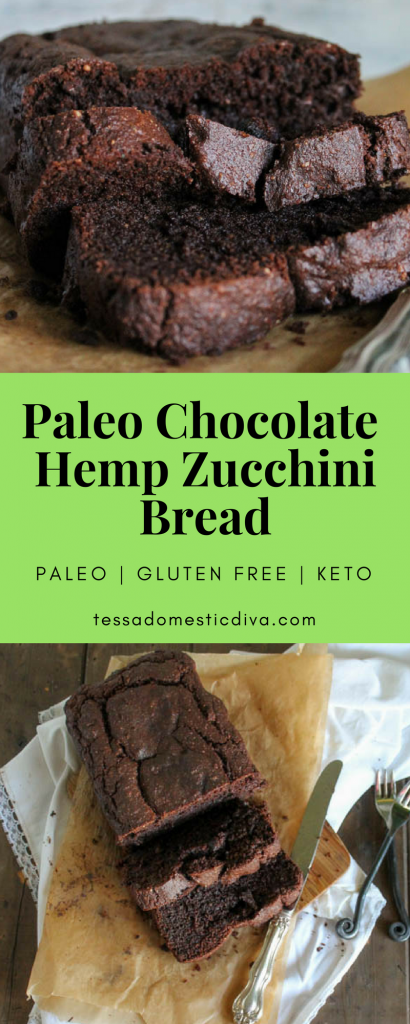 close up and overhead of sliced chocolate hemp zucchini bread