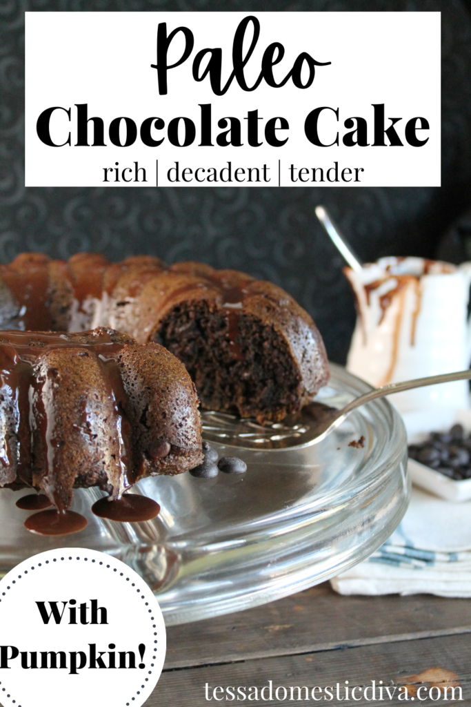 pinterest ready sliced chocolate bundt cake topped with melted chocolate against a dark background