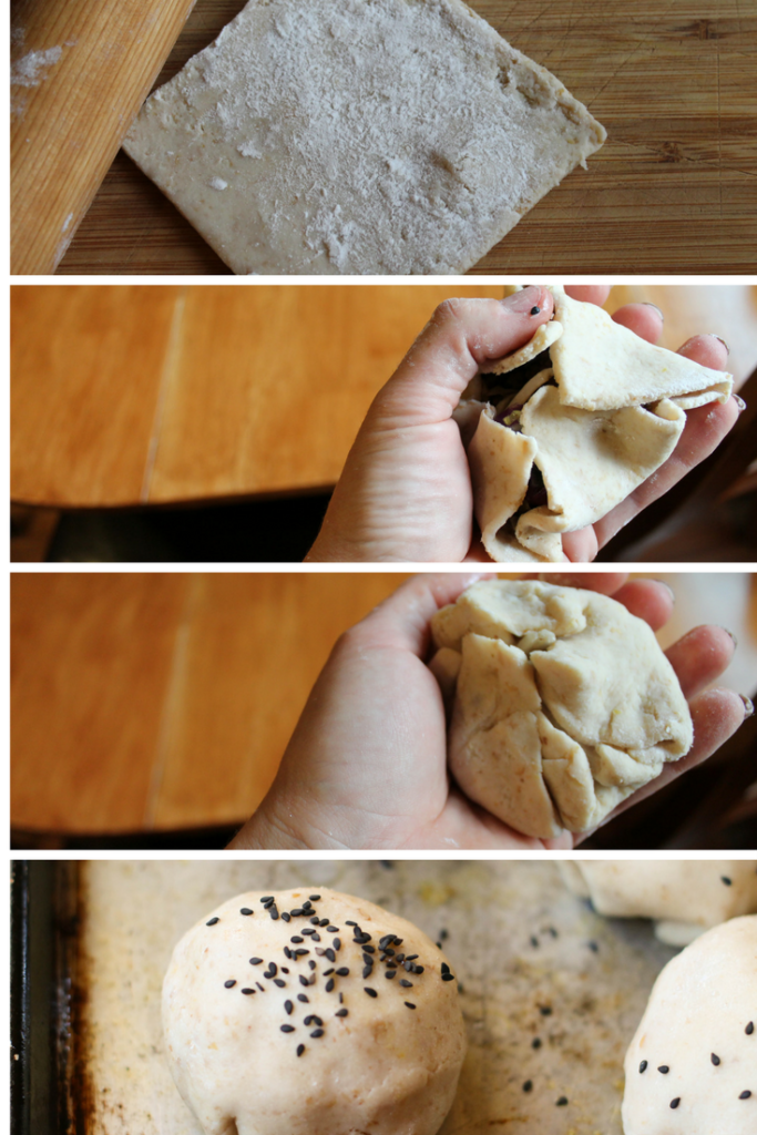 step by step assembly collage of paleo gluten free baked bao buns