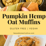 Pumpkin Oat Hemp Muffins - Gluten Free - Vegan #glutenfree #vegan #pumpkin #hemp #wholesome #muffins #eggfree #dairyfree #oats