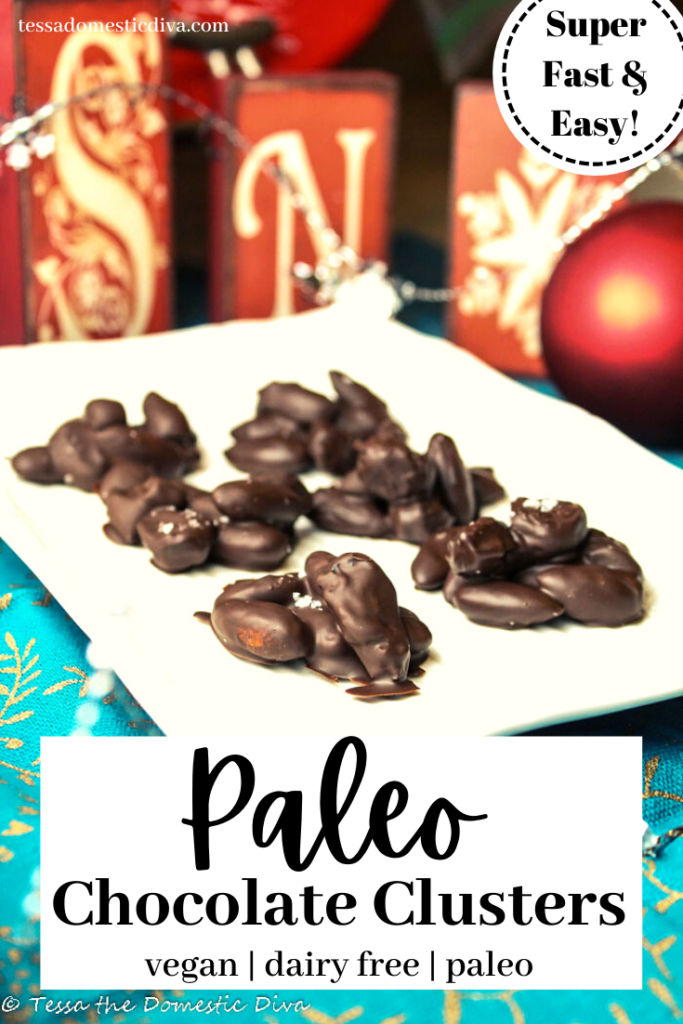 pinterest ready salted chocolate nut clusters atop a white plate with Christmas themed decorations in background