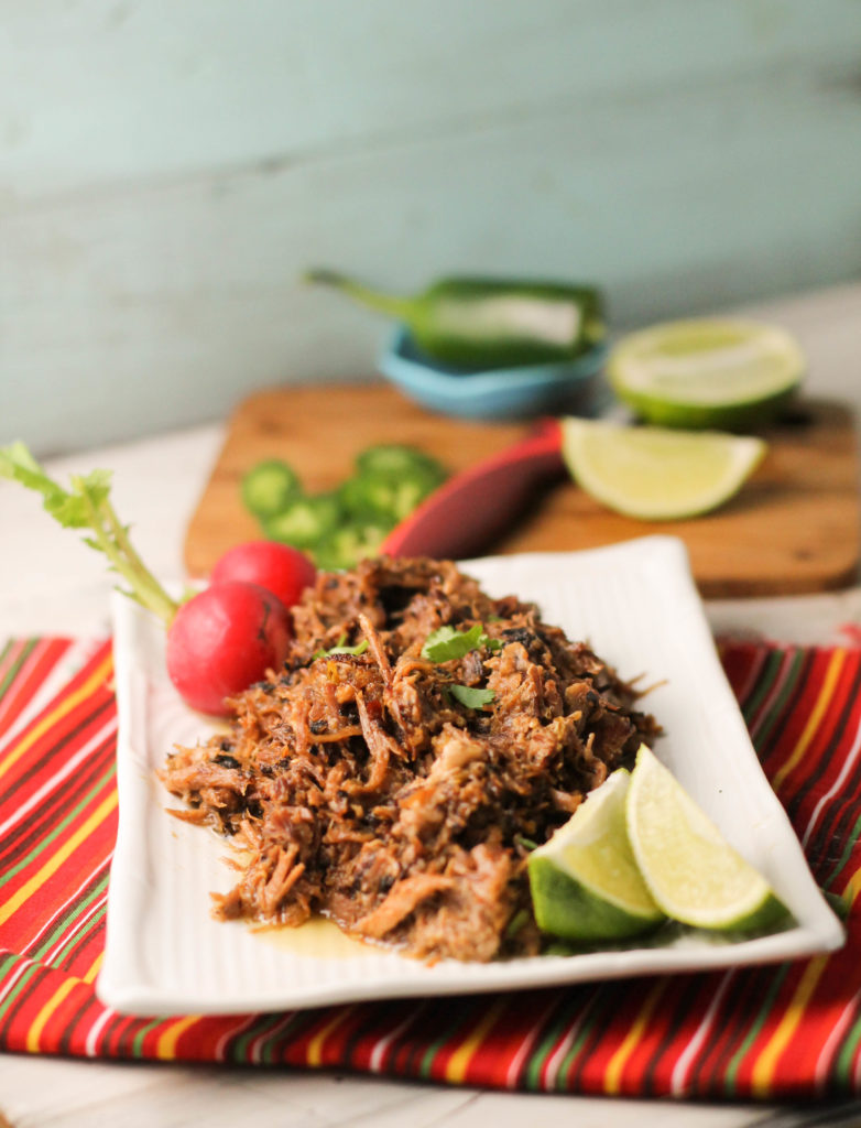 shredded pork on a white plate atop a red striped cloth with lime wedges and radishes