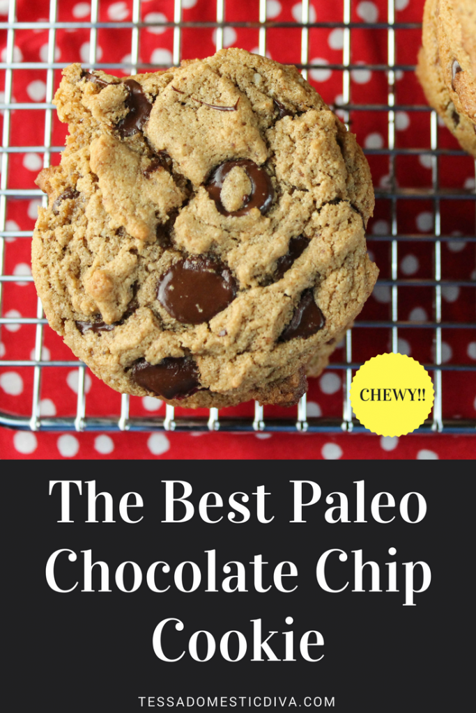 optimized for pinterest best apleo chococlate chip cookie with chewy texture on a metal cooling rack and red with white polka dot background