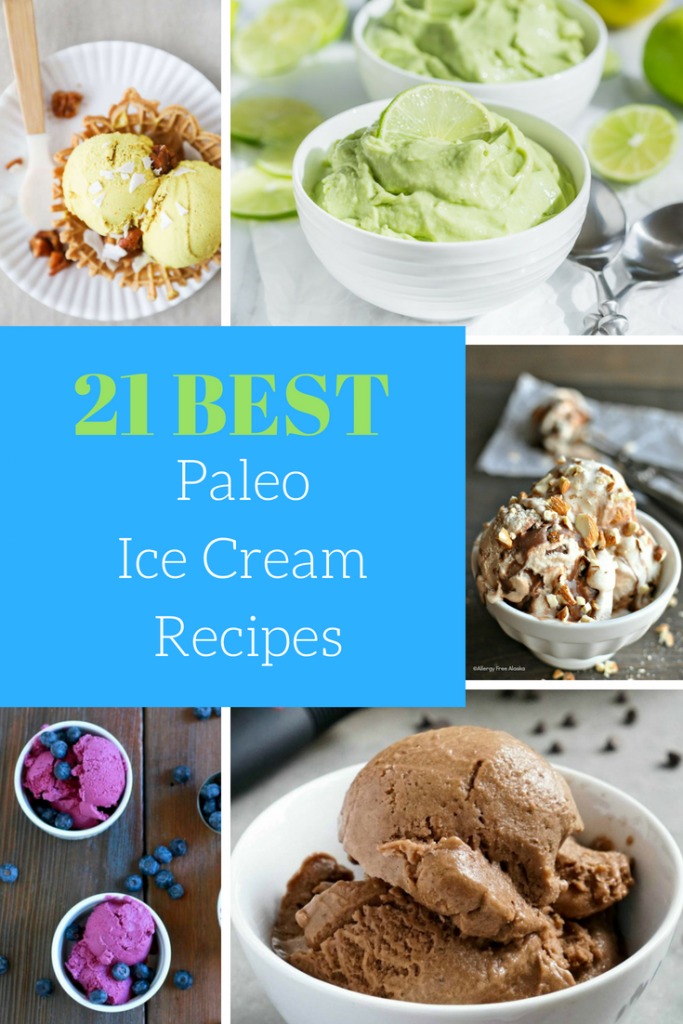 optimized for pinterest 5 paleo ice cream images with a text overlay