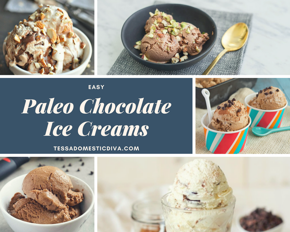 a collage of 5 paleo chocolate ice creams with a text overlay