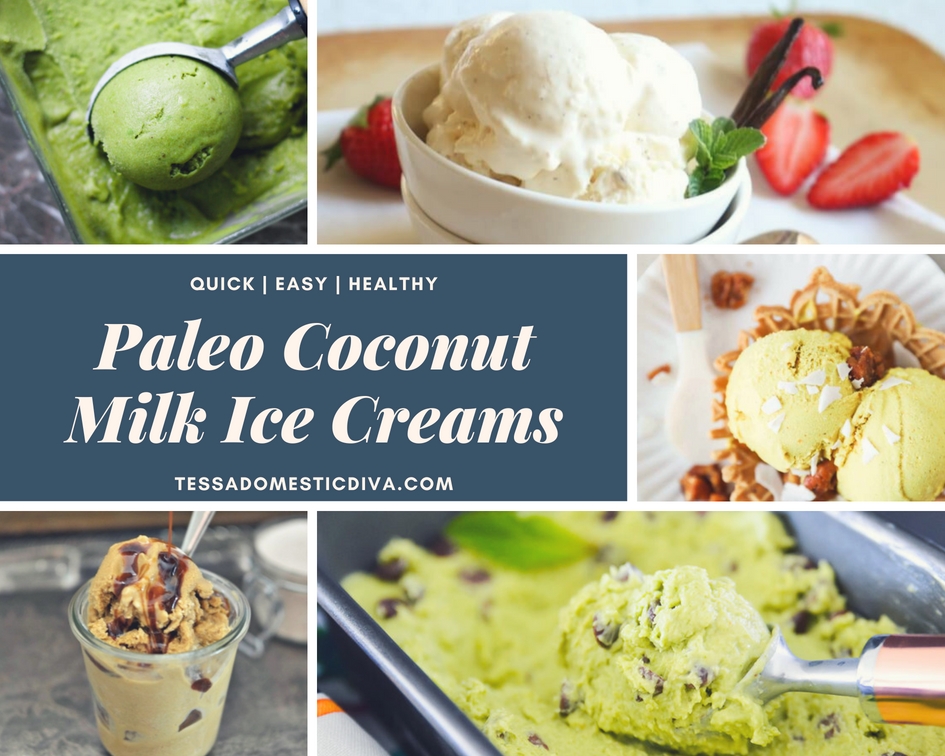 collage of 5 paleo coconut milk ice cream recipes with a text overlay