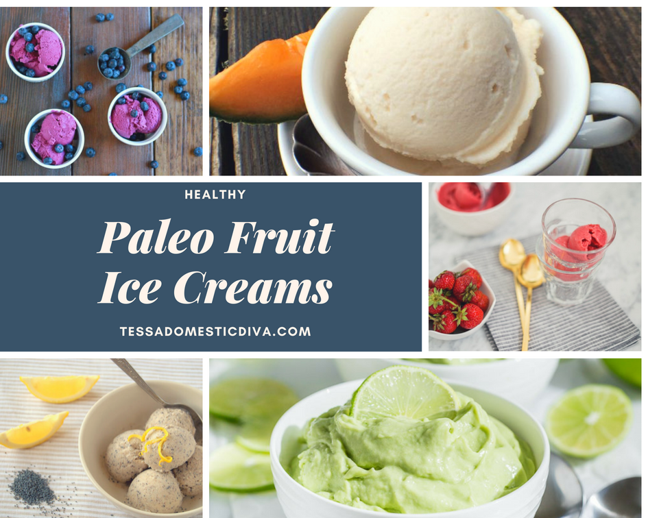 a collage of 5 paleo fruit ice creams with a text overlay