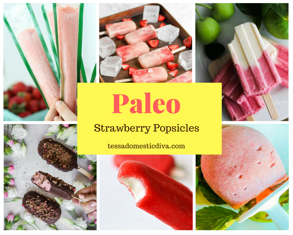 collage of 6 healthy strawberry popsicles
