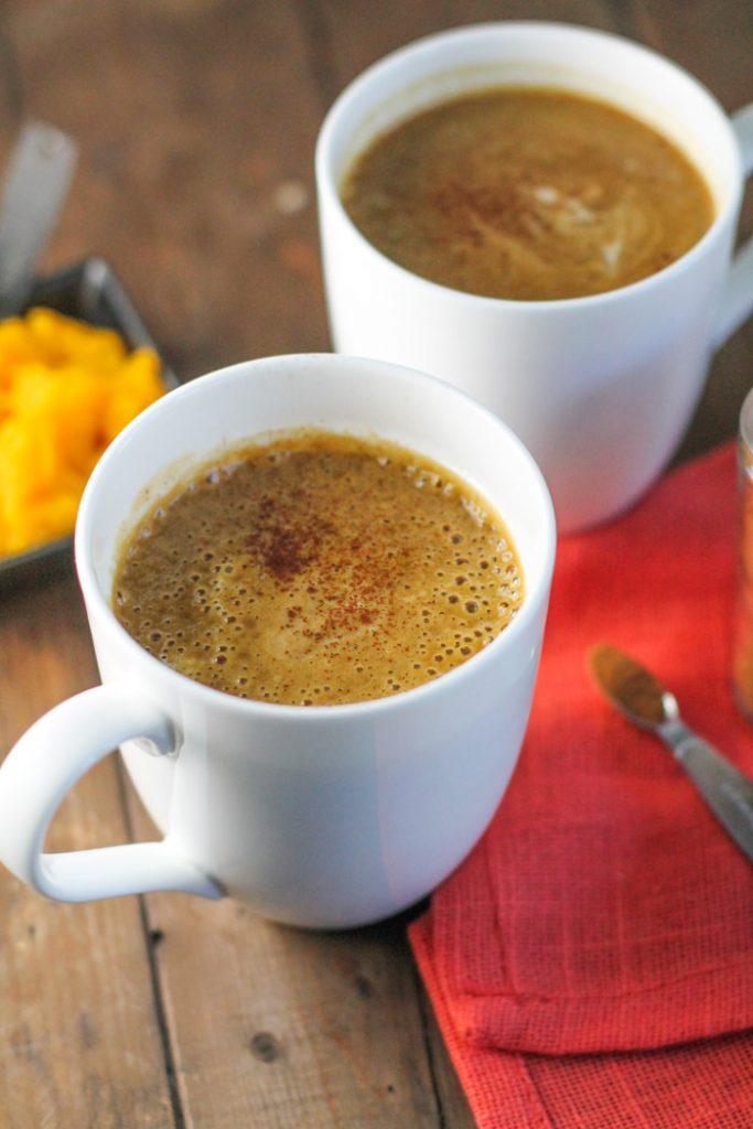bulletproof pumpkin lattes in two white mugs
