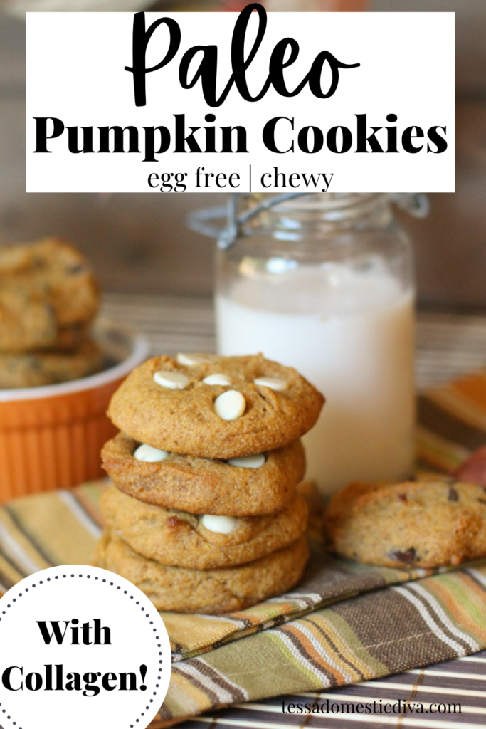 pinterest ready stack of white chocolate chip studded pumpkin cookies with a vintage milk glass in background