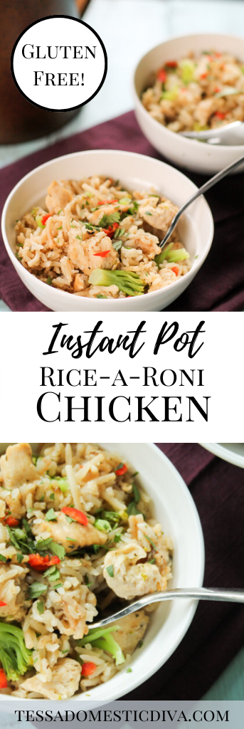 pinterest ready two image format of a white bowl filled with savory chicken and rice