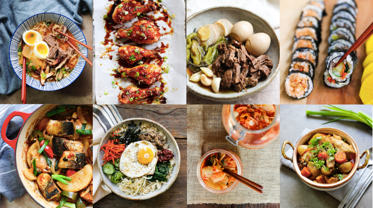 collage of eight recipe pictures from korean paleo cookbook