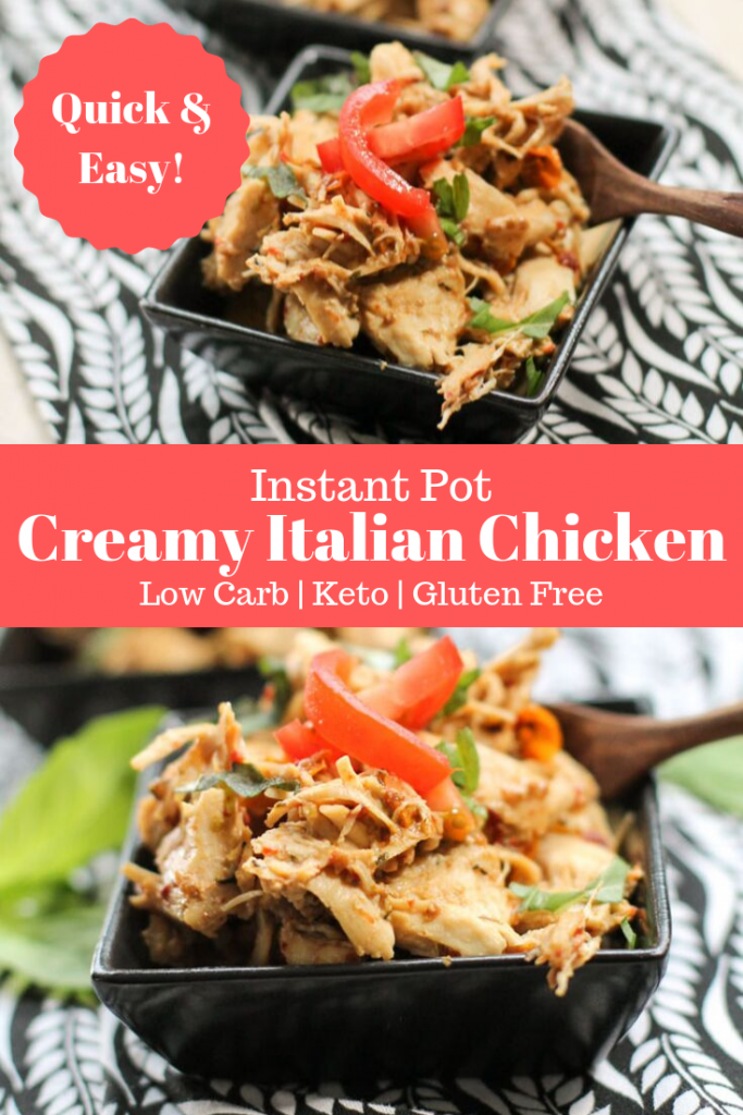 pinterest ready two images of creamy italian chicken tenderloins shredded with tomato and basil