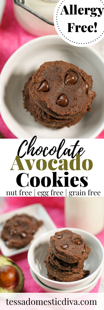 pinterest ready chococlate chip studded avocado cookies atop a white serving bowl with a pink backdrop