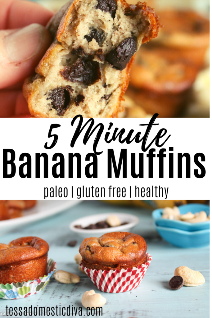 pinterest ready image of banana mini muffins with chocolate chips  and raw cashews scattered about