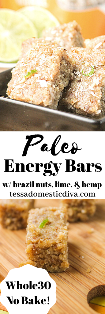 energy bars with brazil nuts, coconut, and lime atop a wooden cutting board