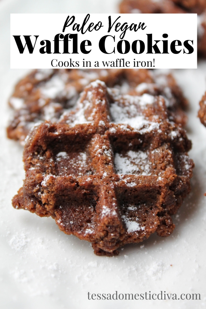 pinterest ready close up of a waffle cooked chocolate cookie dusted with powdered sugar