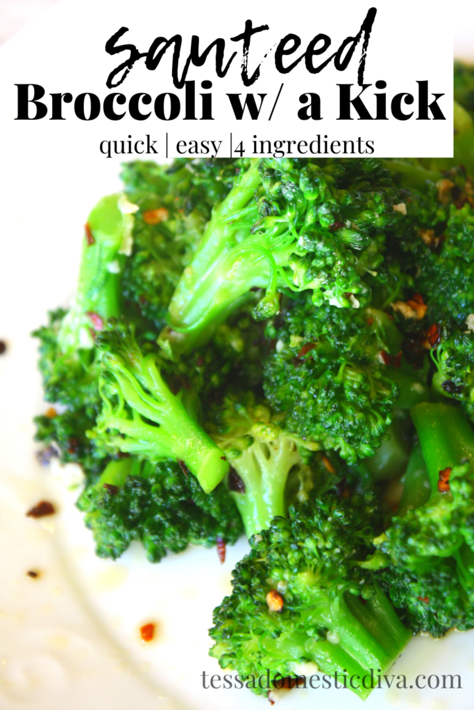 pinterest ready fresh bright green and crunchy sauteed broccoli with chili flakes