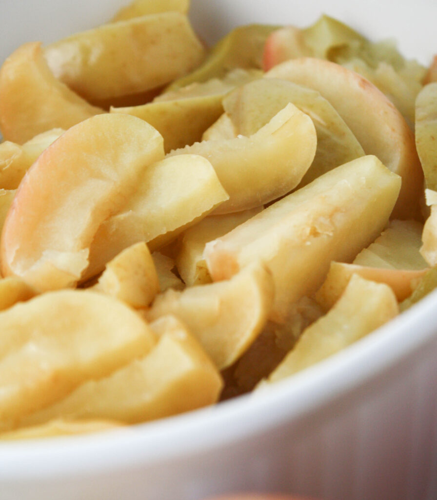 wilted steamed apple slices with the peels