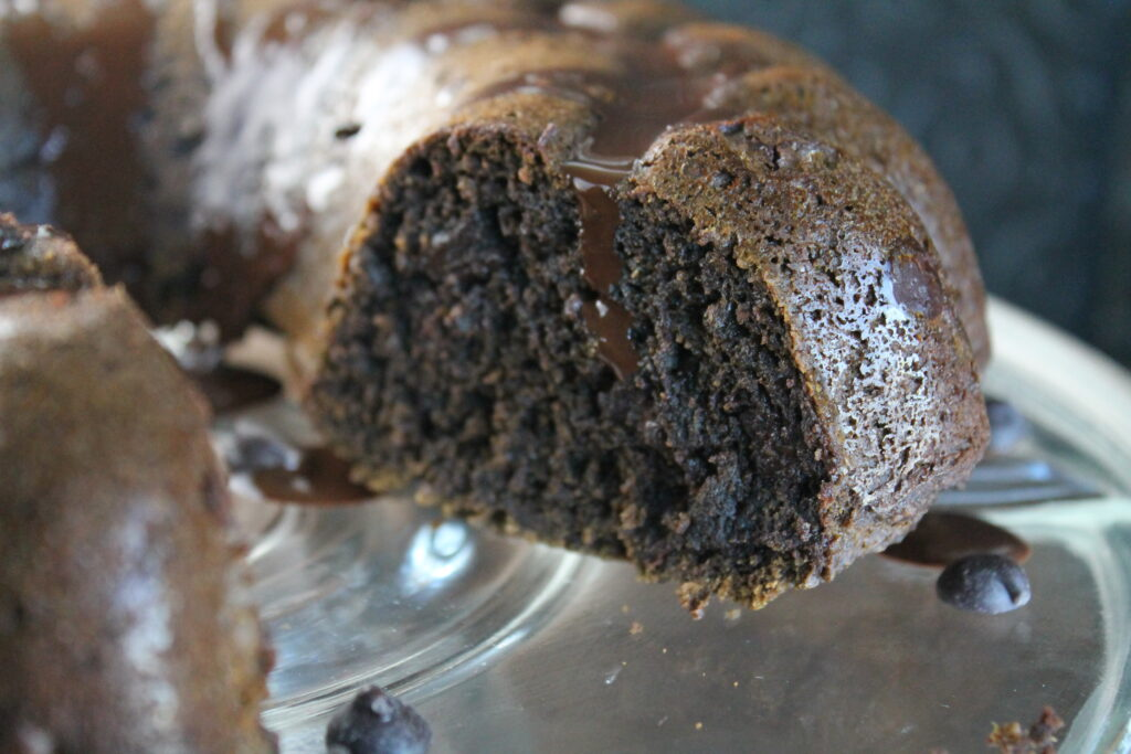 close up of sliced chocolate bundt cake closeup for texture