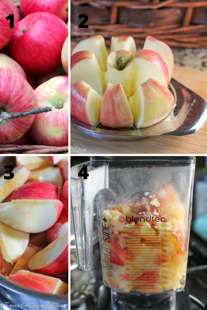a four picture step by step collage of making applesauce with the peels
