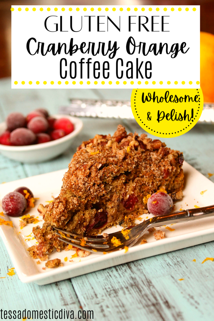 pinterest ready triangle slice of a cranberry orange coffee cake with streusel topping on a white plate
